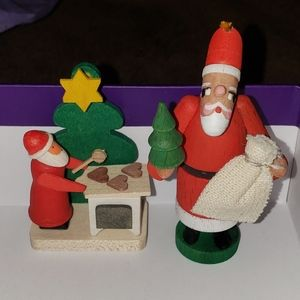 Two Vintage Erzgebirge Santa Wooden Figurines